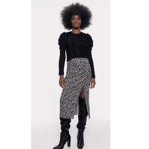 NWT! Zara Draped Floral Print Midi Skirt
